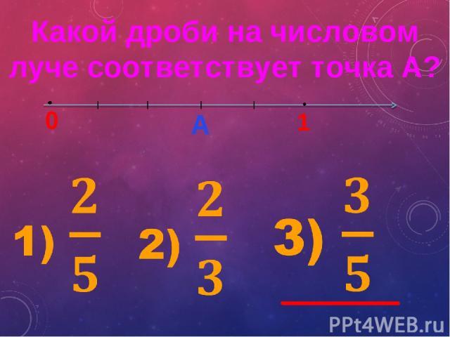 Какой дроби на числовом луче соответствует точка А? 0 1 А