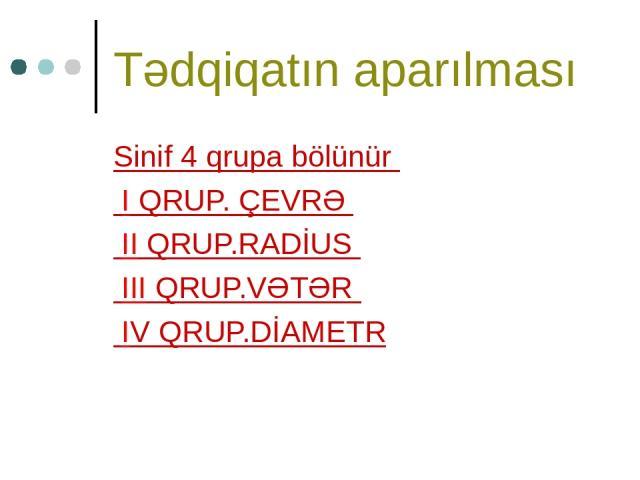Tədqiqatın aparılması Sinif 4 qrupa bölünür I QRUP. ÇEVRƏ II QRUP.RADİUS III QRUP.VƏTƏR IV QRUP.DİAMETR