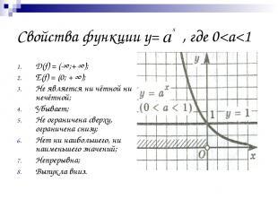 Свойства функции у= , где 0