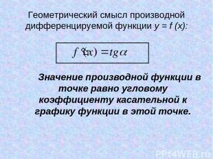 Геометрический смысл производной дифференцируемой функции y = f (x): Значение пр