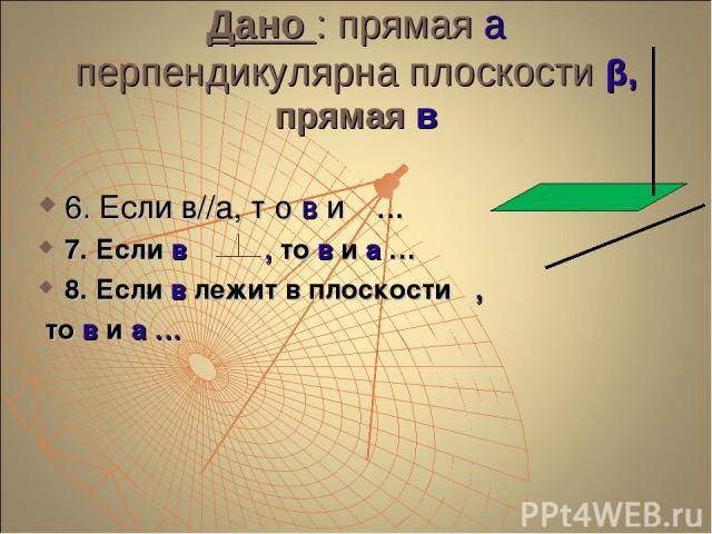 Дано : прямая а перпендикулярна плоскости β, прямая в 6. Если в//а, т о в и β … 7. Если в β , то в и а … 8. Если в лежит в плоскости β, то в и а …