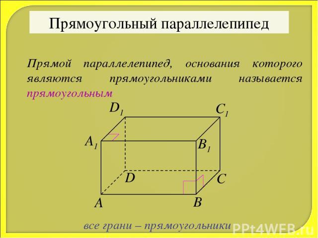 Прямоугольный параллелепипед Прямой параллелепипед, основания которого являются прямоугольниками называется прямоугольным все грани – прямоугольники