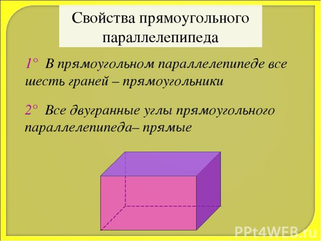 Свойства прямоугольного параллелепипеда 1° В прямоугольном параллелепипеде все шесть граней – прямоугольники 2° Все двугранные углы прямоугольного параллелепипеда– прямые