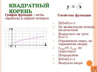 КВАДРАТНЫЙ КОРЕНЬ Свойства функции D(f)=[0;+ ) Не является ни четной, ни нечетно