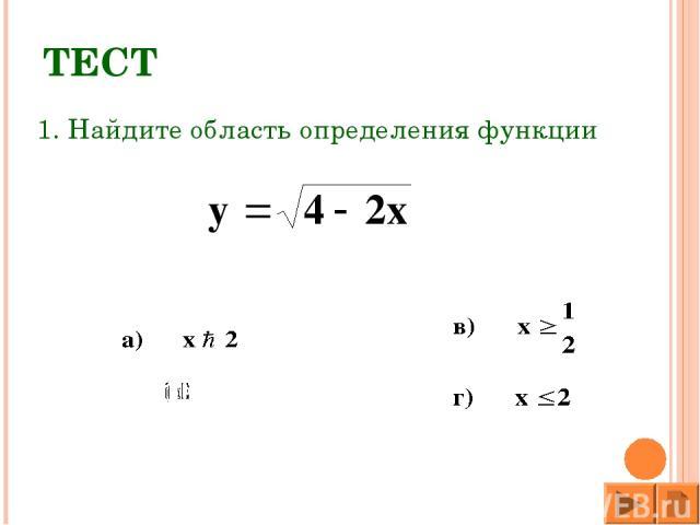 ТЕСТ 1. Найдите область определения функции