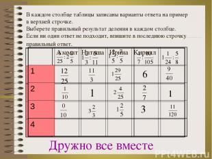 В каждом столбце таблицы записаны варианты ответа на пример в верхней строчке. В