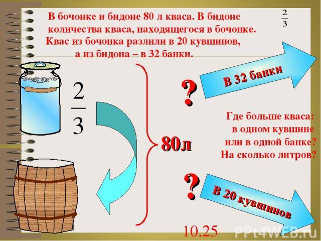В бочонке и бидоне 80 л кваса. В бидоне количества кваса, находящегося в бочонке. Квас из бочонка разлили в 20 кувшинов, а из бидона – в 32 банки. Где больше кваса: в одном кувшине или в одной банке? На сколько литров? 10.25