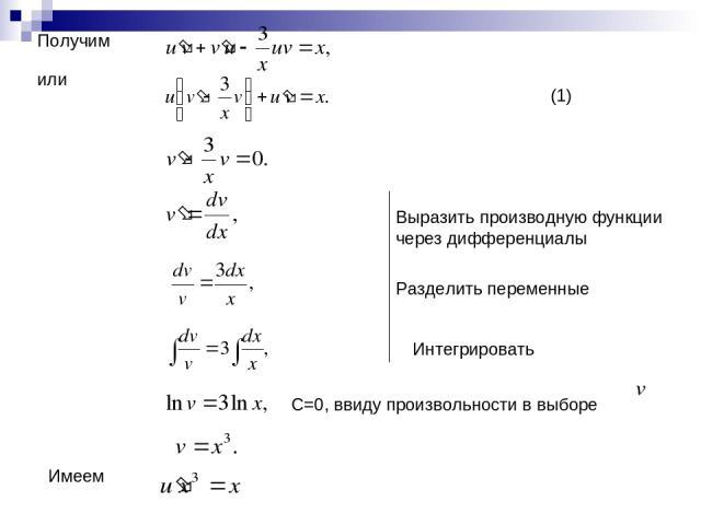 Получим или Выразить производную функции через дифференциалы Разделить переменные Интегрировать С=0, ввиду произвольности в выборе (1) Имеем