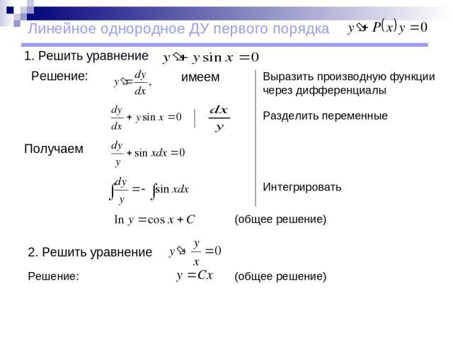 Линейное однородное ДУ первого порядка 1. Решить уравнение Решение: имеем Получаем (общее решение) 2. Решить уравнение Выразить производную функции через дифференциалы Разделить переменные Интегрировать (общее решение) Решение: