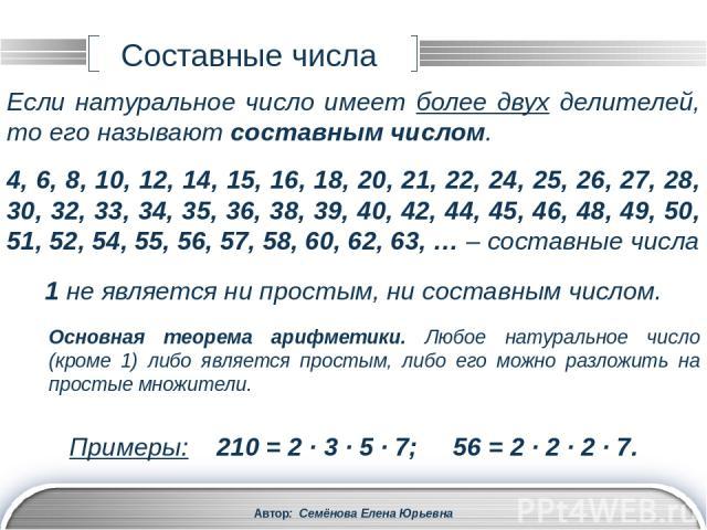 1, 2, 3, 4, 6, 8, 12, 16, 24, 32, 48, 96 Делители числа 72: Автор: Семёнова Елена Юрьевна Наибольший общий делитель (НОД) 1, 2, 3, 4, 6, 8, 9, 12, 18, 24, 36, 72 Делители числа 96: Среди них есть одинаковые: Их называют общими делителями чисел 72 и …