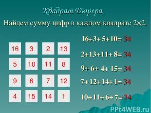 16 3 2 5 10 11 9 6 7 Квадрат Дюрера 16+ 3+ 5+ 2+ 13+ 11+ 8= 7= 10+ 11+ 6+ 4 15 1