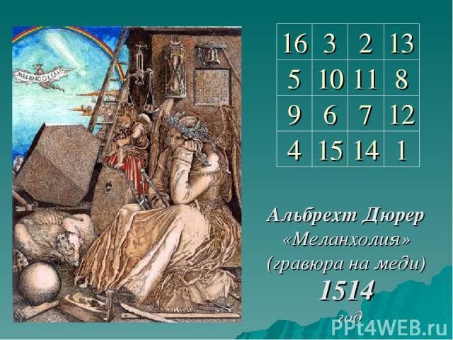 Альбрехт Дюрер «Меланхолия» (гравюра на меди) 1514 год 16 3 2 13 5 10 11 8 9 6 7 12 4 1