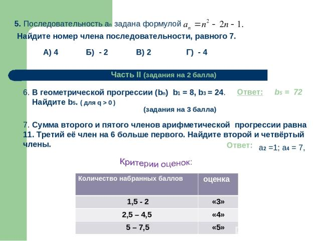 Г) - 4 А) 4 Б) - 2 В) 2 Часть II (задания на 2 балла) 6. В геометрической прогрессии (bn) b1 = 8, b3 = 24. Найдите b5. ( для q > 0 ) (задания на 3 балла) 7. Сумма второго и пятого членов арифметической прогрессии равна 11. Третий её член на 6 больше…