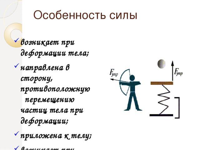 Особенность силы возникает при деформации тела; направлена в сторону, противоположную перемещению частиц тела при деформации; приложена к телу; возникает при деформации тела; направлена в сторону, противоположную перемещению частиц тела при деформац…