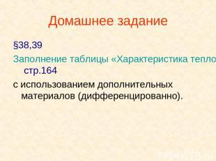 Домашнее задание §38,39 Заполнение таблицы «Характеристика тепловых двигателей»