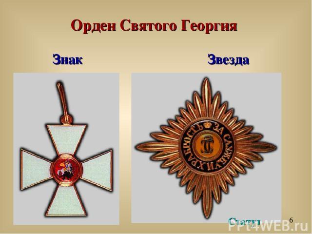Орден Святого Георгия Знак Звезда Статут