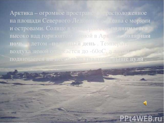 Арктика – огромное пространство, расположенное на площади Северного Ледовитого океана с морями и островами. Солнце в этих краях не поднимается высоко над горизонтом. Зимой в Арктике полярная ночь, а летом –полярный день . Температура воздуха зимой о…