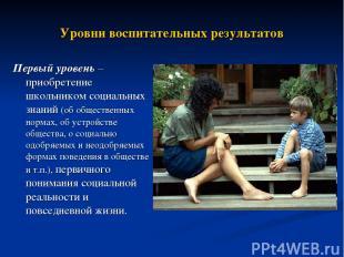 Уровни воспитательных результатов Первый уровень – приобретение школьником социа