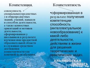 совокупность специальных(предметных) и общепредметных знаний, умений, навыков и