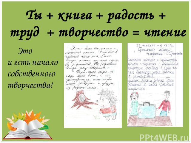 Ты + книга + радость + труд + творчество = чтение Это и есть начало собственного творчества!