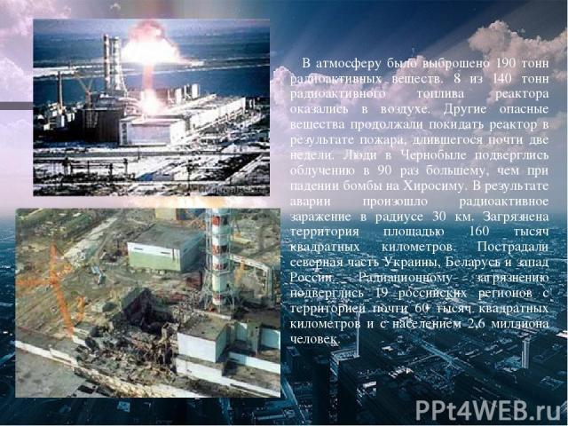 В атмосферу было выброшено 190 тонн радиоактивных веществ. 8 из 140 тонн радиоактивного топлива реактора оказались в воздухе. Другие опасные вещества продолжали покидать реактор в результате пожара, длившегося почти две недели. Люди в Чернобыле подв…