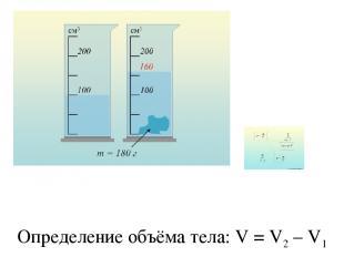 Определение объёма тела: V = V2 – V1