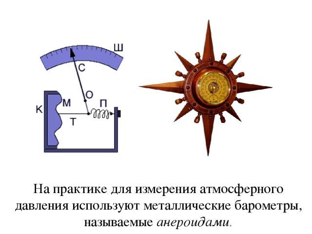 На практике для измерения атмосферного давления используют металлические барометры, называемые анероидами.