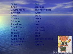 home – 1.hall – 2.living room- 3.kitchen – 4.wall – 5.door - 6.floor – 7.window-