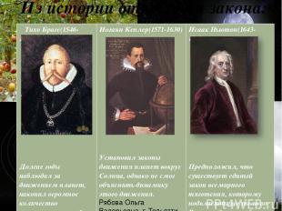 Из истории открытия закона: Рябова Ольга Валерьевна г. Тольятти Тихо Браге(1546-