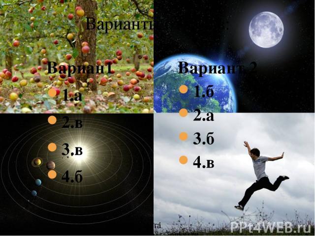 Варианты ответов: Вариан1 1.а 2.в 3.в 4.б Вариант 2 1.б 2.а 3.б 4.в Рябова Ольга Валерьевна г. Тольятти