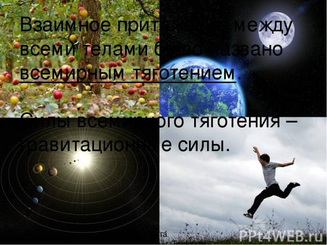 Взаимное притяжение между всеми телами было названо всемирным тяготением. Силы всемирного тяготения – гравитационные силы. Рябова Ольга Валерьевна г. Тольятти