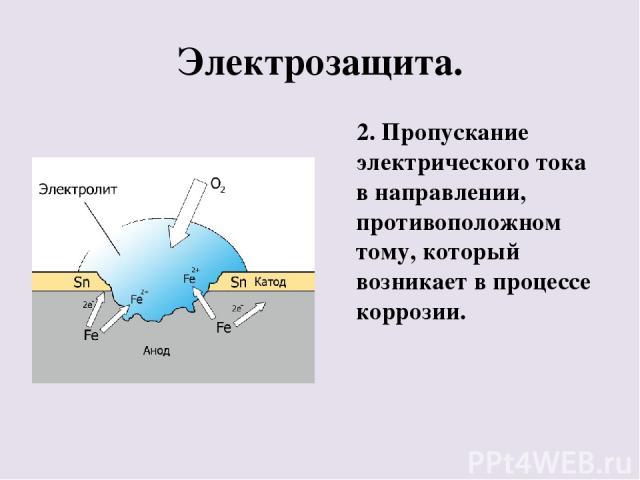 Электрозащита. 2. Пропускание электрического тока в направлении, противоположном тому, который возникает в процессе коррозии.
