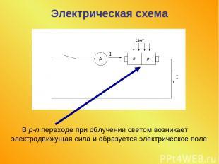Электрическая схема В p-n переходе при облучении светом возникает электродвижуща