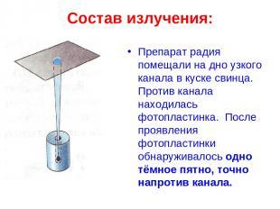 Состав излучения: Препарат радия помещали на дно узкого канала в куске свинца. П