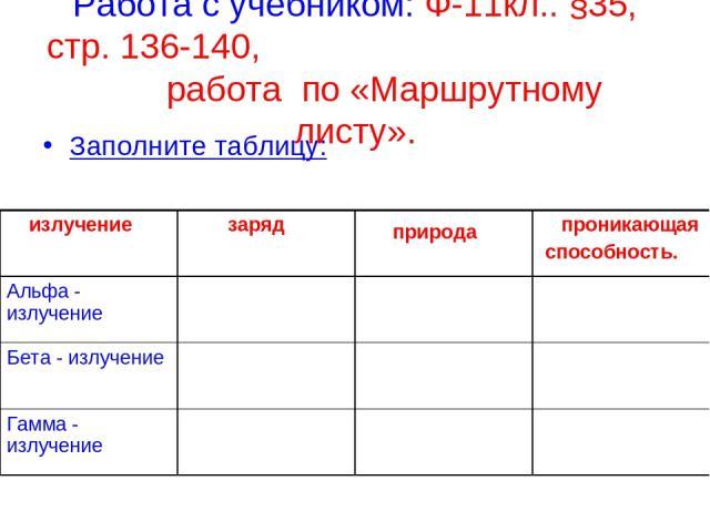 Работа с учебником: Ф-11кл.. §35, стр. 136-140, работа по «Маршрутному листу». Заполните таблицу: излучение заряд природа проникающая способность. Альфа - излучение Бета - излучение Гамма - излучение
