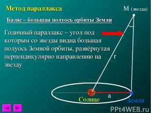Метод параллакса Базис – большая полуось орбиты Земли Годичный параллакс – угол