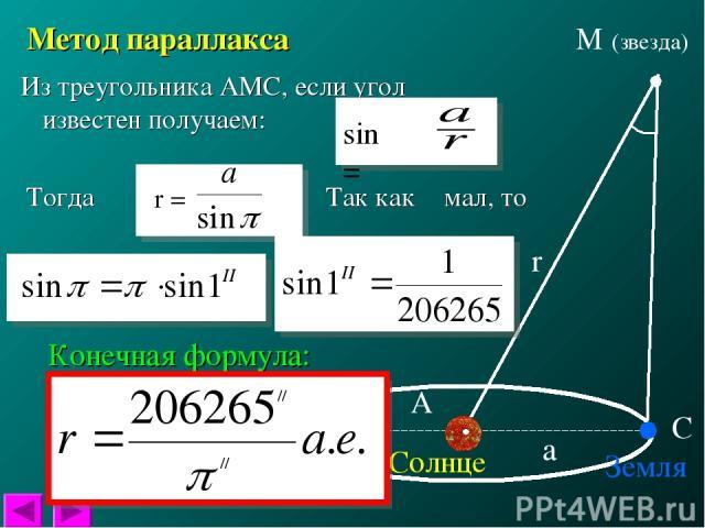 Солнце Земля π М (звезда) r а Метод параллакса А С Из треугольника АМС, если угол π известен получаем: Так как π мал, то Конечная формула: