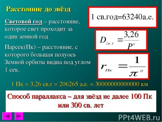 Расстояние до звёзд Световой год – расстояние, которое свет проходит за один земной год Парсек(Пк) – расстояние, с которого большая полуось Земной орбиты видна под углом 1 сек. 1 Пк = 3,26 св.г = 206265 а.е. = 30000000000000 км Способ параллакса – д…