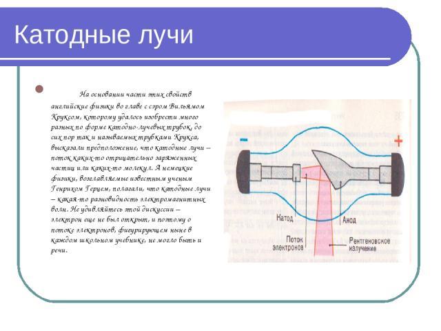 Катодные лучи На основании части этих свойств английские физики во главе с сэром Вильямом Круксом, которому удалось изобрести много разных по форме катодно-лучевых трубок, до сих пор так и называемых трубками Крукса, высказали предположение, что кат…