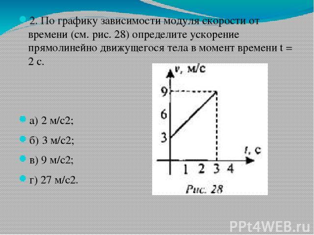 2. По графику зависимости модуля скорости от времени (см. рис. 28) определите ускорение прямолинейно движущегося тела в момент времени t = 2 с. а) 2 м/с2; б) 3 м/с2; в) 9 м/с2; г) 27 м/с2.