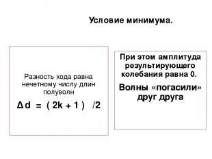 Условие минимума. Разность хода равна нечетному числу длин полуволн ∆ d = ( 2k +