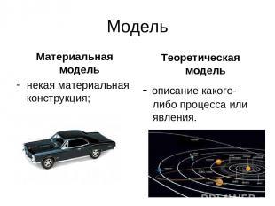 Модель Материальная модель некая материальная конструкция; Теоретическая модель