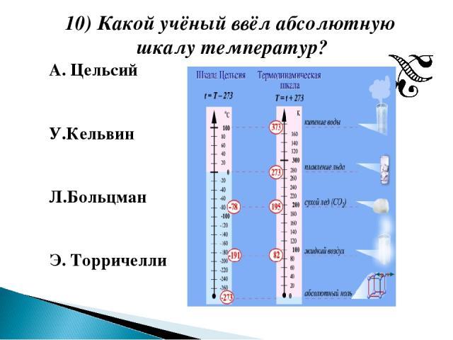 10) Какой учёный ввёл абсолютную шкалу температур? А. Цельсий У.Кельвин Л.Больцман Э. Торричелли