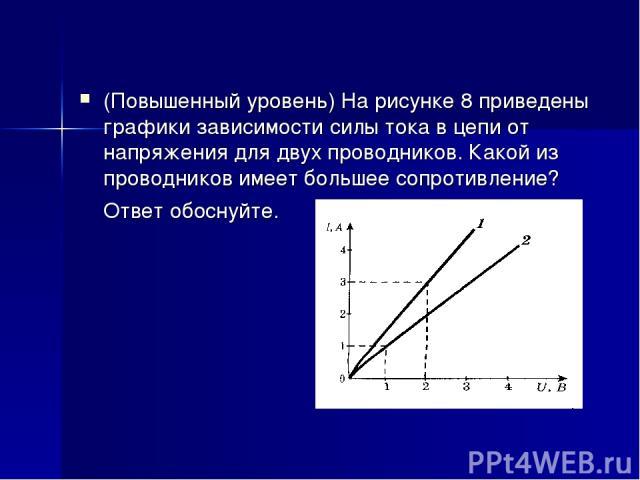 (Повышенный уровень) На рисунке 8 приведены графики зависимости силы тока в цепи от напряжения для двух проводников. Какой из проводников имеет большее сопротивление? Ответ обоснуйте.