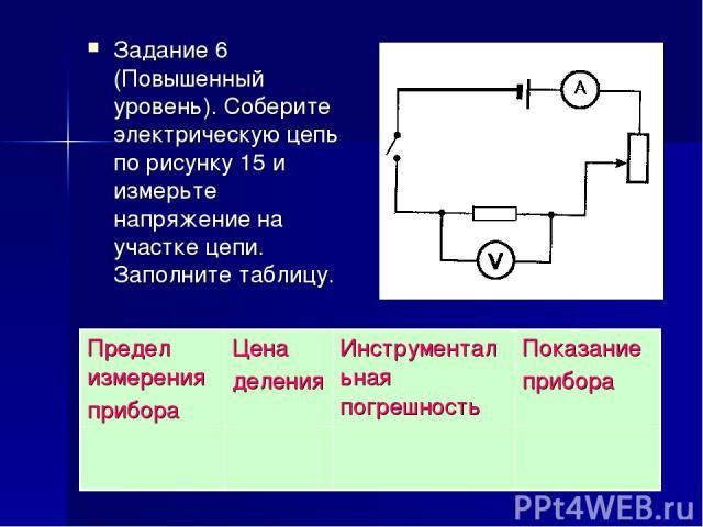 Задание 6 (Повышенный уровень). Соберите электрическую цепь по рисунку 15 и измерьте напряжение на участке цепи. Заполните таблицу. Предел измерения прибора Цена деления Инструментальная погрешность Показание прибора