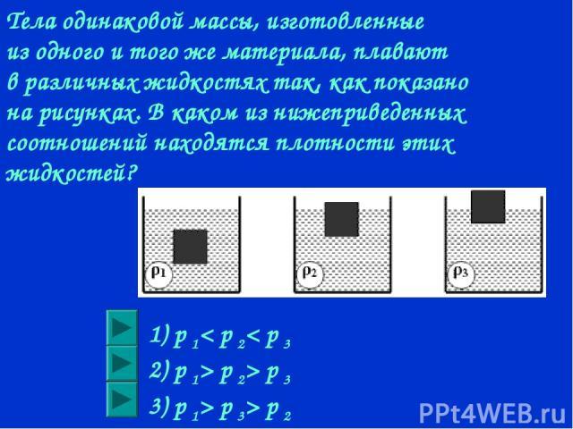 Тела одинаковой массы, изготовленные из одного и того же материала, плавают в различных жидкостях так, как показано на рисунках. В каком из нижеприведенных соотношений находятся плотности этих жидкостей? 1) p 1< p 2< p 3 2) p 1> p 2> p 3 3) p 1> p 3> p 2