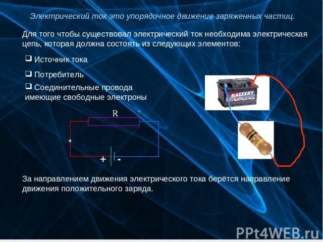 Электрический ток это упорядочное движение заряженных частиц. Для того чтобы существовал электрический ток необходима электрическая цепь, которая должна состоять из следующих элементов: Источник тока Потребитель Соединительные провода имеющие свобод…