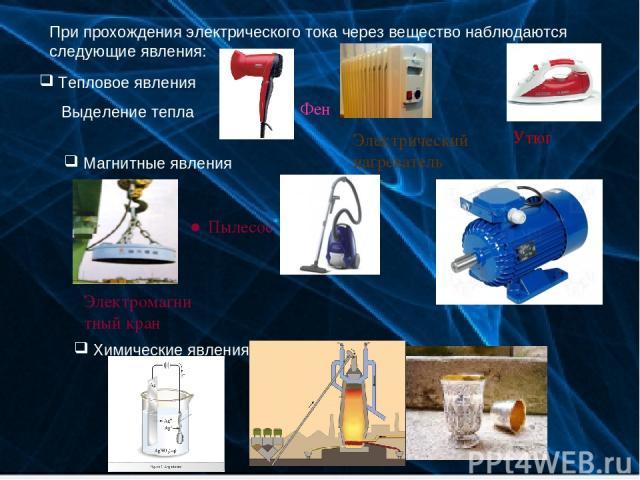 При прохождения электрического тока через вещество наблюдаются следующие явления: Тепловое явления Выделение тепла Магнитные явления Химические явления Вовк