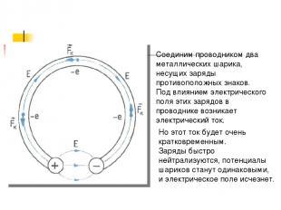 Соединим проводником два металлических шарика, несущих заряды противоположных зн
