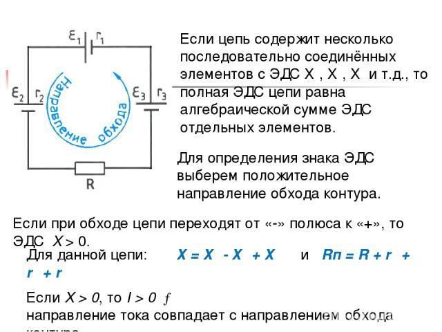 Если цепь содержит несколько последовательно соединённых элементов с ЭДС Ɛ₁, Ɛ₂, Ɛ₃ и т.д., то полная ЭДС цепи равна алгебраической сумме ЭДС отдельных элементов. Для определения знака ЭДС выберем положительное направление обхода контура. Если при о…
